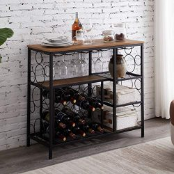 Hombazaar Industrial Wine Rack Table with Glass Holder and Wine Storage, Console Table with Wine ...