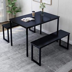 MIERES 3 Pieces Dining Table Set 2 Benches Kitchen Furniture, Modern Style Wood Top with Metal F ...