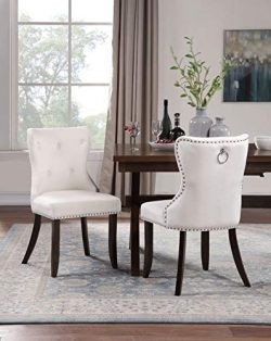 Harper&Bright Designs Set of 2 Victorian Dining Chair, Upholstered Accent Chair for Dining R ...