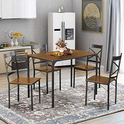 5-Piece Dining Table Set Vintage Table Top Home Kitchen Table with 4 Chairs Metal Dining Room Br ...