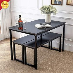 3-Piece Dining Table Set with Two Benches, Kitchen Contemporary Home Furniture, Black 1