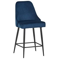 Rivet Modern Kitchen Counter Stool, Set of 2, 39.5″H, Blue