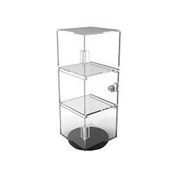 FixtureDisplays 6x6x16″ Rotating Mini Plexiglass Lucite Clear Acrylic Tower Showcase Displ ...