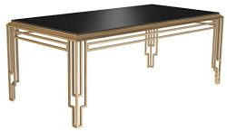 Bombay D2006T0113 Art Deco Glass Top Rectangular Dining Table, 6.5 Ft, Black, Brass Gold