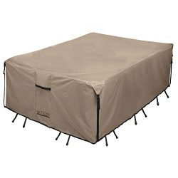 ULTCOVER Rectangular Patio Heavy Duty Table Cover – 600D Tough Canvas Waterproof Outdoor D ...