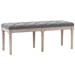 Kmax Upholstered Dining Room Bench, Rustic Living Room Ottoman Bench with Carved Pattern & R ...