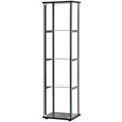 BOWERY HILL 4-Shelf Glass Curio Cabinet Display Case in Black