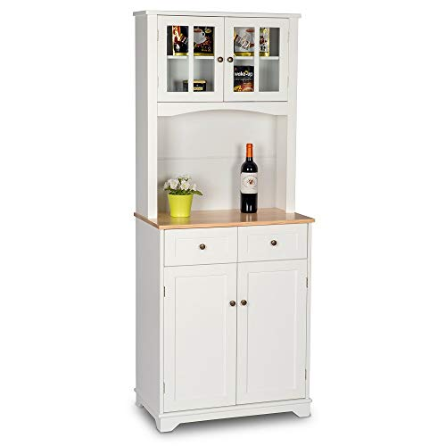 Amooly Buffet Hutch Standing Kitchen Cabinet with Top & Bottom Enclosed,Glass Doors,2 Drawer ...
