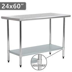Kitchen Work Table Food Prep Table Stainless Steel NSF Commercial Worktable with Adjustable Shel ...