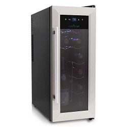 NutriChef 12 Bottle Thermoelectric Wine Cooler / Chiller | Counter Top Red And White Wine Cellar ...