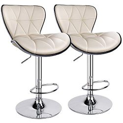 Leopard Shell Back Adjustable Swivel Bar Stools, PU Leather Padded with Back, Set of 2 (Beige)