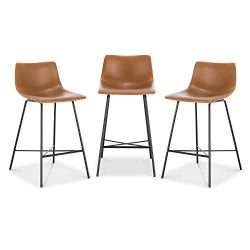 Poly and Bark Paxton 24″ Counter Stool, Set of 3 Tan