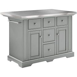 Crosley Julia Stainless Steel Top Kitchen Island in Gray