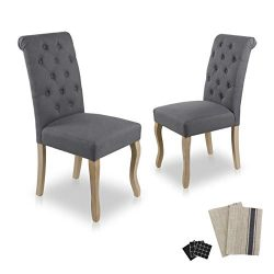 Dinner Chairs Upholstered Accent Fabric Dining Chair with Solid Wood Legs for Kitchen Living Roo ...