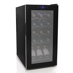 Nutrichef PKCWC150 15 Bottle Compressor Wine Cooler Refrigerator Red and White, Champagne Chille ...