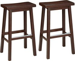 AmazonBasics Classic Solid Wood Saddle-Seat Kitchen Counter Stool with Foot Plate 29 Inch, Walnu ...