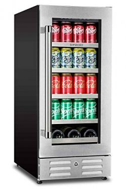 Sipmore Beverage Refrigerator and Wine Cooler 15 inch Stainless Steel Shelf 88 Can and 3 Bottle  ...