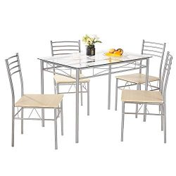 AMERLIFE Glass Dining Table Set with 4 Chairs Modern Tempered Glass Top 5 Piece Table and Chairs ...