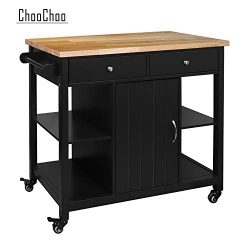 ChooChoo Kitchen Islands on Wheels with Wood Top, Utility Wood Movable Kitchen Cart with Storage ...