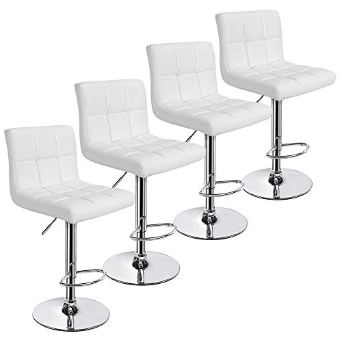 Yaheetech X-Large Bar Stools – Square PU Leather Adjustable Counter Height Swivel Stool Ar ...