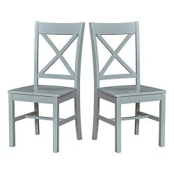 Ravenna Home Solid Pine Dining Chair with Cutout Back, 38″H, Gray Finish, Set of 2