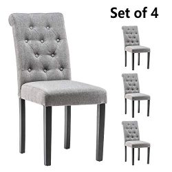 YEEFY Habit Solid Wood Tufted Parsons Upholstered Fabric Dining Chair (Set of 4) (Light Gray)