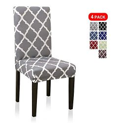 Stretch Dining Chair Covers, Geometric Print Dining Chair Slipcovers, Removable Washable Spandex ...