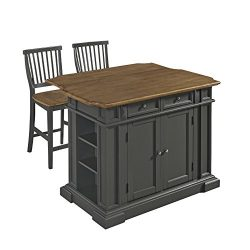 Americana Black Kitchen Island with 2 Stools by Home Styles