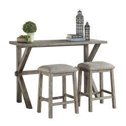 Lexicon 3-Piece Counter Height Dinette Set, Gray