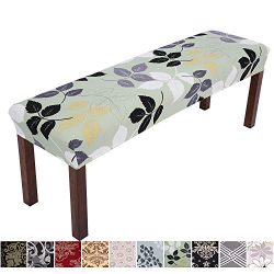 Comqualife Stretch Spandex Printed Dining Bench Cover – Anti-Dust Removable Upholstered Be ...