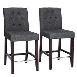 SONGMICS Set of 2 Bar Stools Kitchen Breakfast Chairs, with Button Tufted Backrest, Linen-Style  ...