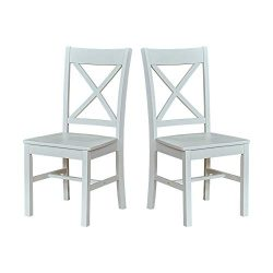 Ravenna Home Solid Pine Dining Chair with Cutout Back, 38″H, White Finish, Set of 2