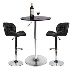Bar Table Set of 3 – Adjustable Round Table and 2 Swivel Pub Stools (Black Table and Black ...