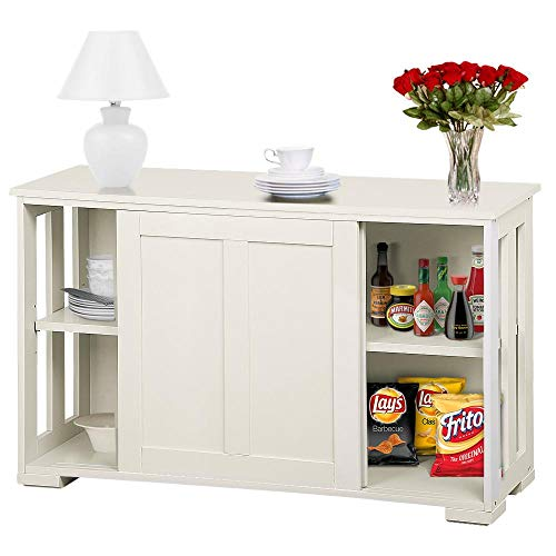 Topeakmart Kitchen Storage Sideboard – Antique White Stackable Cabinet with Sliding Door I ...
