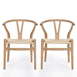 VODUR Wishbone Chair Natural Solid Wood Dining Chair/Hans Wegner Y Chair Rattan and Wood Accent  ...