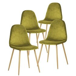 GreenForest Dining Chairs for Kitchen, Mid Century Modern Side Chairs,Velvet Upholstered Dining  ...