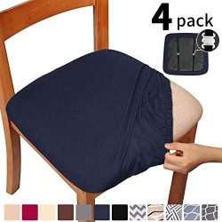 Gute Stretch Solid Dining Chair Seat Covers with Elastic Ties and Button, Removable Washable Ant ...