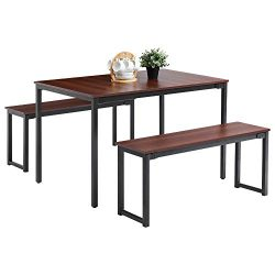 Oudort Dining Room Table Set, Modern Soho Dining Table with Two Benches, Large Farmhouse Kitchen ...