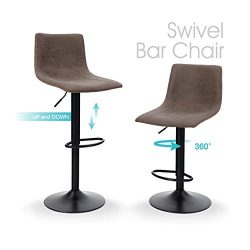 Sophia & William Bar Stool Set of 2 Swivel Counter Height Chairs Adjustable Water Resistant  ...