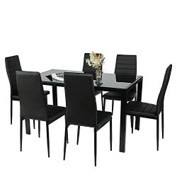 BAHOM 7 Piece Kitchen Dining Table Set for 6, Glass Table and PU Leather Chairs Set of 6 for Bre ...