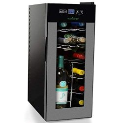 NutriChef PKTEWC120 Nutrichef 12 Bottle Thermoelectric Wine Cooler Refrigerator, Red, White, Cha ...