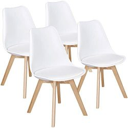 Yaheetech Dining Chairs DSW Chair Eames Style Shell Lounge PU Side Chair with Beech Wood Legs Mo ...