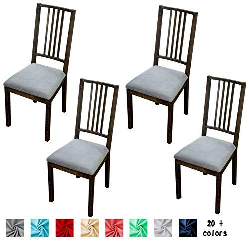 Argstar 4 Pack Premium Velvet Chair Seat Cushion Slipcover, Elastic Slipcover for Kitchen Chair  ...