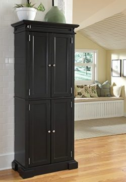 Home Styles Americana Freestanding Pantry in Black with Upper and Lower Storage Cabinets with Tw ...