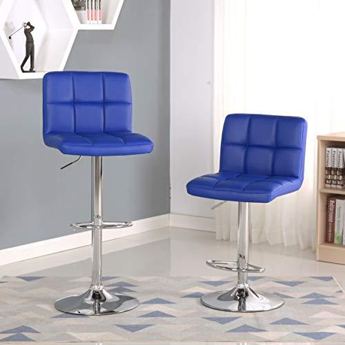 Roundhill Furniture Swivel Elegant PU Leather Modern Adjustable Hydraulic Barstools, Set of 2, blue