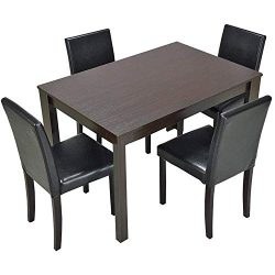 Furgle 5 Piece Furniture Kitchen Dining Table Set with Oak Wood Dining Room Table and Set of 4 D ...