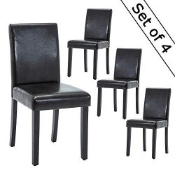LSSBOUGHT Set of 4 Urban Style Black Leathrer Dining Chairs with Solid Wood Legs