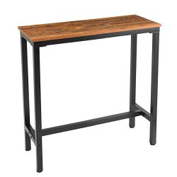 Mr IRONSTONE 39.4″ Bar Table Vintage Industrial Pub Dining Height Table Bistro Table (Indo ...
