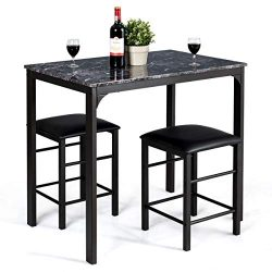Giantex 3 Pcs Dining Table and Chairs Set with Faux Marble Tabletop 2 Chairs Contemporary Dining ...