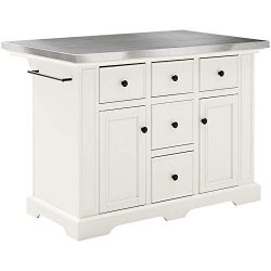 Crosley Julia Stainless Steel Top Kitchen Island in White
